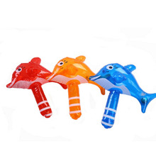 Mini Cute Inflatable Dolphin Hammer Children Bath Toy Baby Shower Water Toys Swimming Games Kids Beach Toys With Rattles