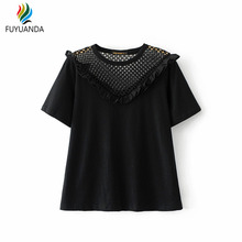 Chemise Femme T Shirt Women 2017 Summer White Blusas Grid Fishnet Sexy Tops Camiseta Verano Mujer Black Casual Vintage Tees