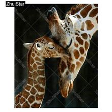 "Zhui Star Full Square Drill 5D DIY Diamond Painting ""Giraffe"" 3D Embroidery set Cross Stitch Mosaic Decor gift VIP(China)"