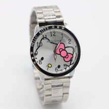 NEW Hello Kitty Watch Stainless steel Wrist watch Quartz Watch Promotional Item Fashion Watch 10pcs(China)