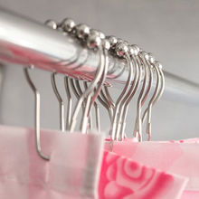12 Pcs/lot High Quality 5 Roller Polished Satin Nickel Ball Shower Curtain Rings Balls Curtain Hooks For Bathroom Accessories
