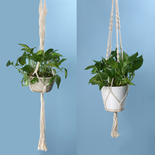 Vintage Knotted Plant Hanger Basket Green Flowerpot Macrame Lifting Rope Plant Hanger Pot Holder Garden Hanging Flower Display(China)