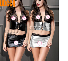 Buy Sexy lace glisten Metallic PVC FAUX LEATHER Underwear Babydolls Lingerie Sheer Dresses Stripper Sleepwear Outfits+miniskirt 8980