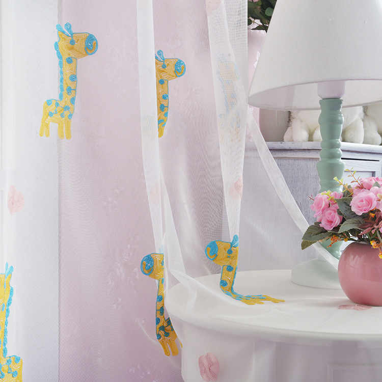 Curtain for Living Room Embroidered Window Yarn Children Cartoon Curtains for Bedroom Window Yarn Sheer Tulle Kids Boy Girl
