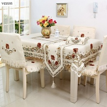 vezon Europe Elegant Large Size 180*360cm Floral Embroidery Tablecloth Satin Embroidered Wedding Table Towel Cloth Cover Overlay