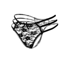 Sexy Lace g string thongs Sexy Lingerie women underwear Transparent Panties Lace Panties Female Sexy Underwear Women'S Panties(China)