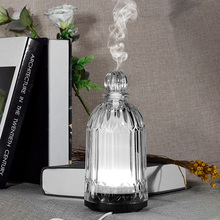 120ml Air Humidifier Glass Aroma Diffuser LED Room Perfume Night Light Aroma Diffuser Glass Bottles Aroma lamps(China)