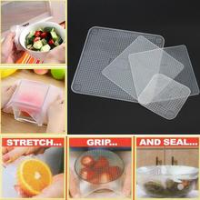 4pcs/Set Reusable Silicone Food Wraps Seal Cover Stretch Multifunctional Useful Food Fresh Keeping Kitchen Tools ss1372(China)