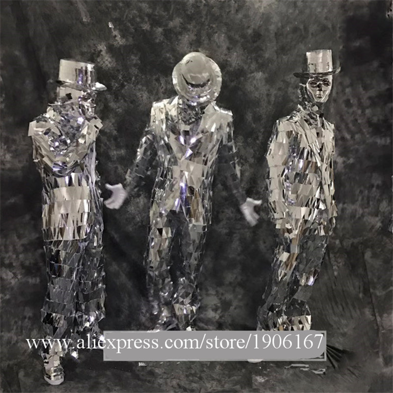 Men Silver Color Catwalk Show Stage wear Ballrooom Costume Mirror Cloth Party Christmas Performance DJ Singer Clothes Suit05