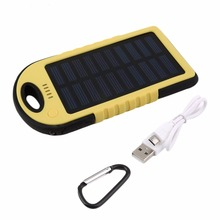 5000mah Environmentally-Friendly Ultra-thin Dual-USB Waterproof Solar Power Bank Battery Charger for Cellphone with an Easy-Grip