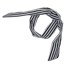 New Women Striped Print Fabric Coated Wire Hair Wrap Scarf Head Band White Black