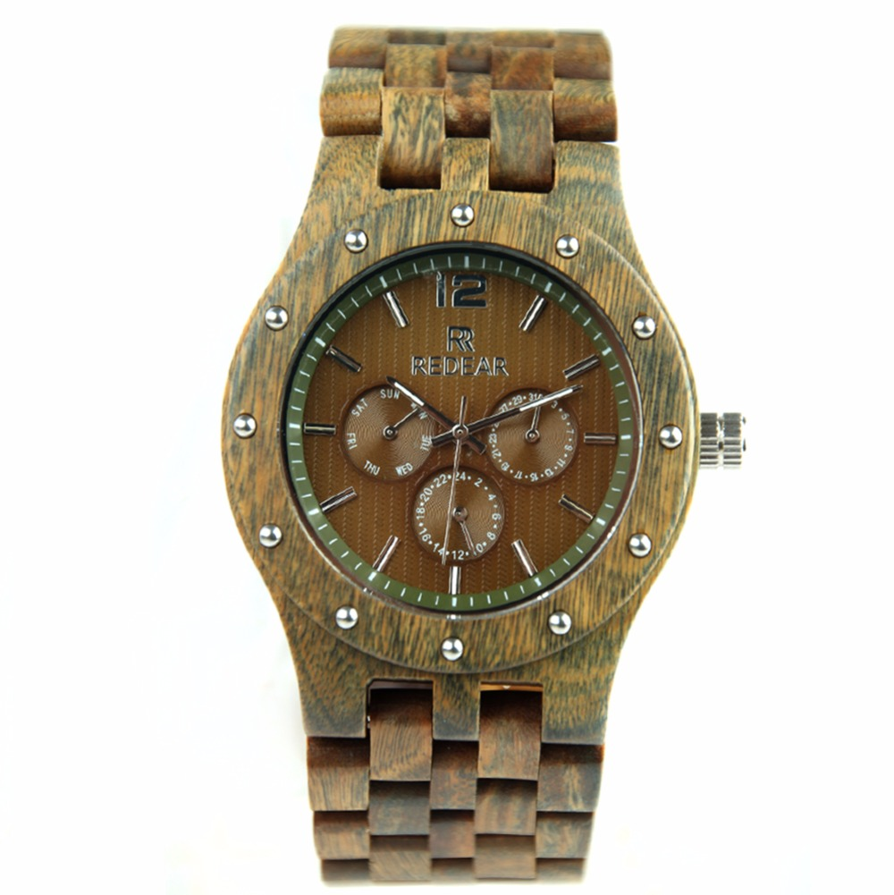REDEAR Handmade Green Sandalwood Mens Watch Top Brand Luxury Japan Movement Quartz Watch With False Six Needle Rivet Watch Case<br>