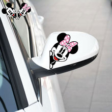 Mickey Mouse Mickey and Minnie Car Raerview Mirror Sticker and Decal for Volkswagen Polo Golf 5 6 7 Skoda Opel Ford Focus 2 3(China)