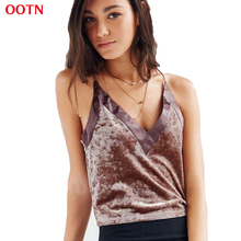 OOTN Cotton Velvet Tops Women Patchwork Satin Summer Camis Sexy Tank Top Female Strap Brown Black Crop Tops Short Autumn Cropped(China)