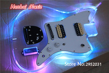 High Quality Semi-finished Eelctric Guitar Body,Acrylic Body,LED Lights on Body,2 Open Pickups,White Pickguard,can be Customized