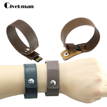 Fashion bracelet leather usb flash drive 64GB pen drive 32GB pendrive real capacity memory stick disk 8GB 16GB storage device(China)