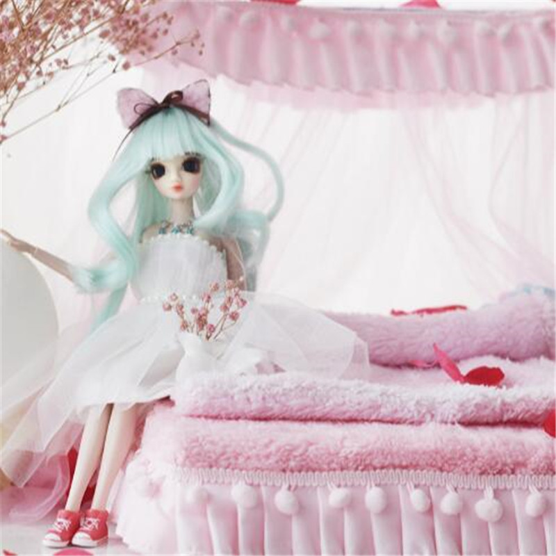 CXZYKING Barbie Accessories Furniture For Barbie Pink Bed+Bed Sheet+Quilt Cover+Pillow Play House Toys For Girls Doll Accessory<br>