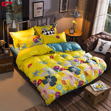 Sookie Yellow Floral Print Bedding Set 3pcs Duvet Cover Sets Soft Bed Cover Twin Queen King Size Bed Linen Luxury Bedclothes(China)