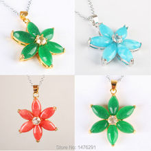 NEW Imperial Green Red Blue Three kinds Of Color Jades Inlaid Flowers Pendant 1PCS