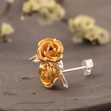 Flyleaf 925 Sterling Silver Rose Flowers Stud Earrings For Women High Quality Fashion Style Lady Gift Sterling-silver-jewelry(China)