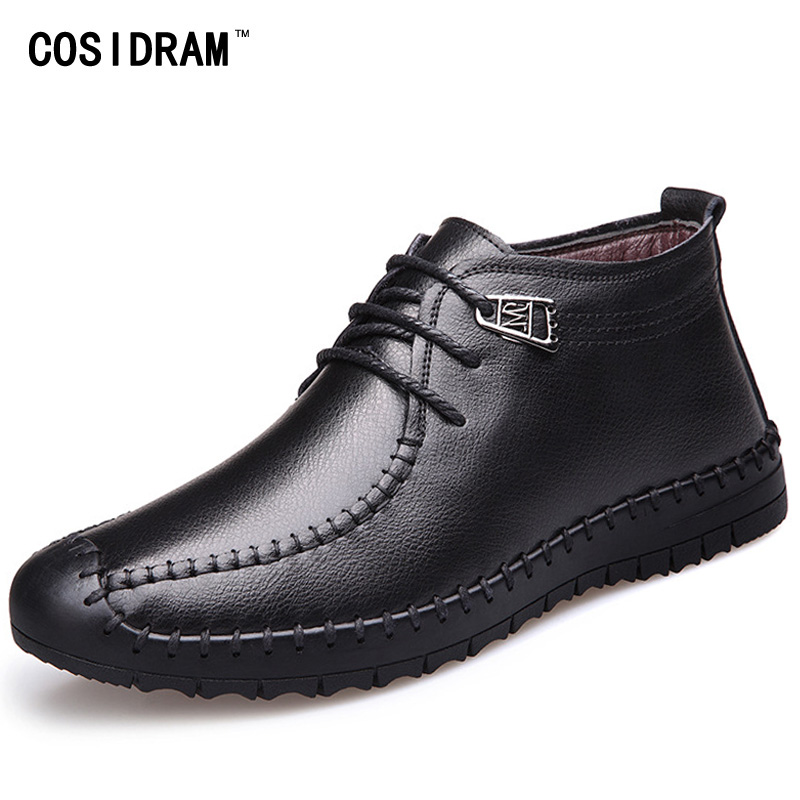 Warm Winter Men Boots Genuine Leather Martin Ankle...