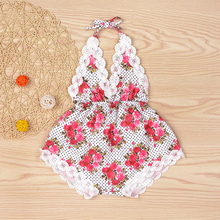 0-18M Rose Floral Printed Baby Romper ,Vintage Baby Girls playsuit Baby Swag Rompers baby girl clothes tie Summer Beach Suit P15(China)