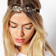 AHO289(12), Gold Tone Rhinestone Jewelled Olive Leaf Elastic Hairband Headband Wedding Hair Accessories