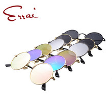 ERRAI Round Glasses Men Women Steampunk Sunglasses Vintage Sunglass Women Brand Designer Round Sunglasses 2017 New Mirror UV400(China)