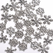 30PCS Antique Silver Tone Alloy Made Snowflake Pendant Charms Finding Christmas Decoration Hanging Art Accessory Wholesale