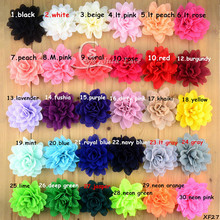 80pcs /lot 30colors large chiffon scalloped flower ,crinkle fabric flower decorative headband flower hair accessories