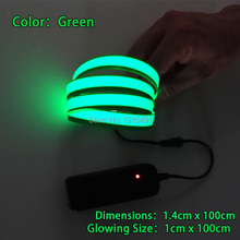 High Quality Anniversary Gift Green 1.4x100cm EL Tape 360 Degrees Lighting Neon Led Strip Without Controller for Festival,Party