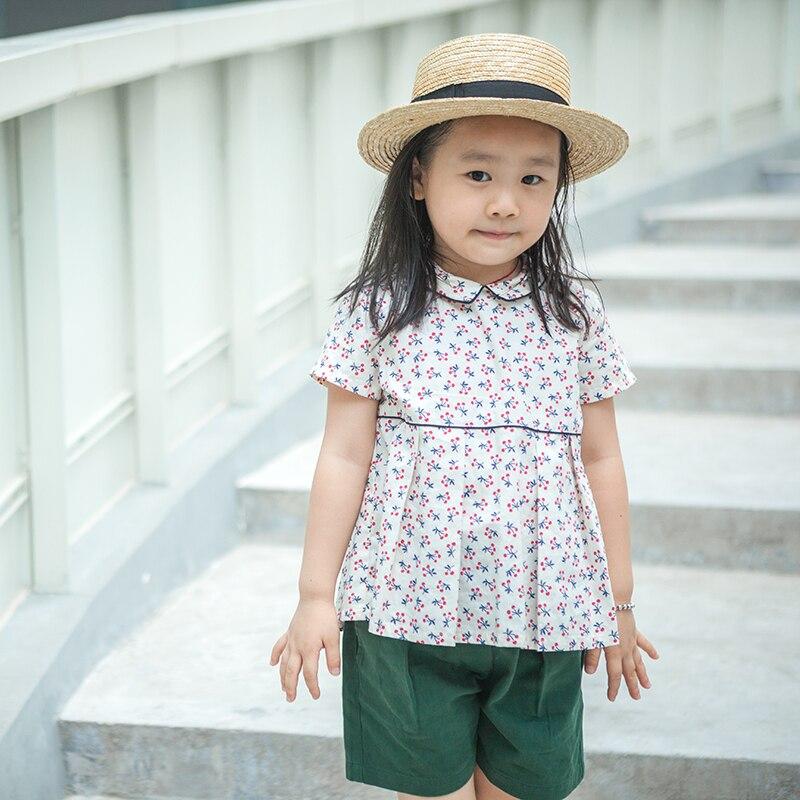 Flower kids girl shirt 100-140cm brand shirts for girls designer kids clothing summer shirt print Floral Cherry girls top c2<br>