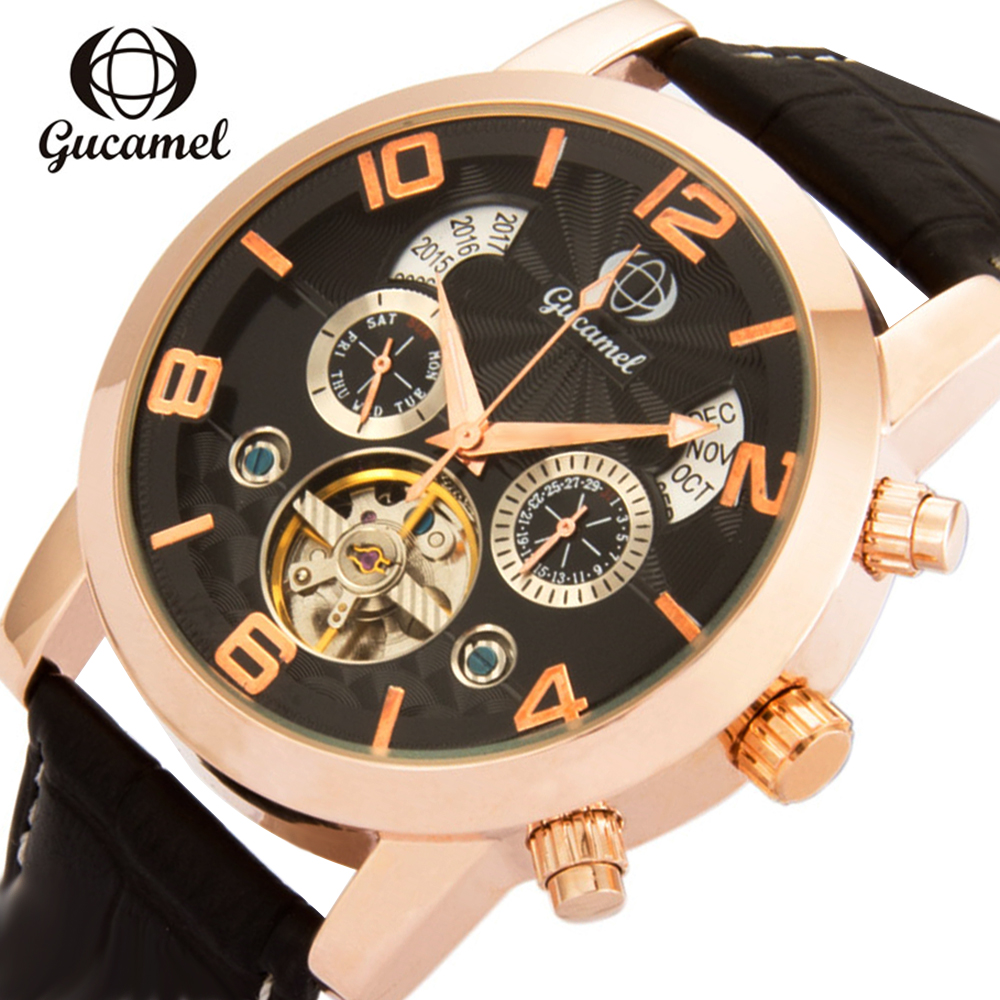 Mens Watches Top Brand Luxury Classic Automatic Mechanical Watch Tourbillon Stainless Steel Case Leather Strap Black Men Watch<br>