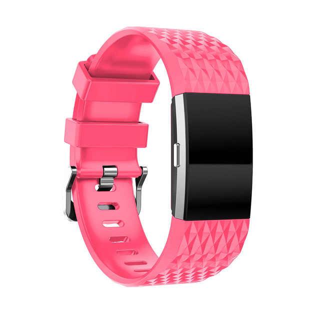 (12 цветов ромба) спортивные замена силиконовый ремешок сердечного ритма полосы для FitBit Charge 2 Фитнес браслет, Размеры S/L