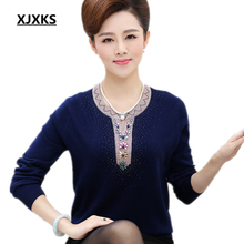 XJXKS 2017 new women sweater autumn and winter cashmere sweater loose big yards long-sleeve basic plus size Tops