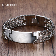Meaeguet Vintage Cross Bible Bracelets & Bangles For Men Women Stainless Steel Chain & Link Bracelets Jewelry