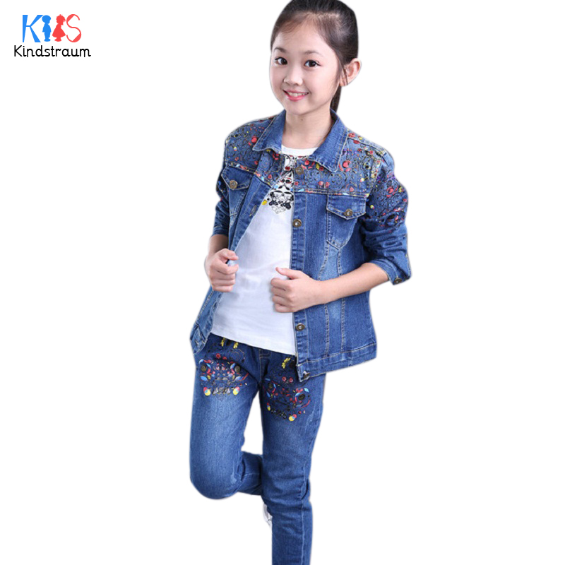 Kindstraum 2017 New Children Denim Clothing Suits Brand Girls Coat + Pants + Shirts Fashion Print Sets for Kids,RC761<br><br>Aliexpress