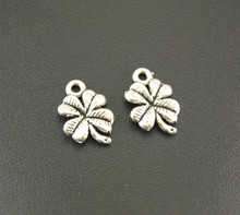 Free Shipping! 20 Pcs Antique Silver/Bronze 4 Leaf Clover Charms DIY Jewelry Findings Accessories 11x17mm A695/A696