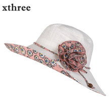 Xthree Design Flower Foldable chapeu feminino sun hat for girl women beach hat summer hat Vintage Sinamay Fascinator(China)