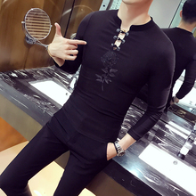 2017 Chinese Tshirts Mens Social Club Outfits Rose Mens Mandarin Collar T shirts White Black Camiseta Slim Fit Chinese Style Top(China)