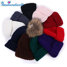 Bnaturalwell Winter Girls Boys Beanie with Fur Pom Pom Kids Beanie hat Knit hat With Real Raccoon Fur Pompom Warm cap H023S(China)