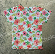 Track Ship+New Vintage Retro T-shirt Top Tee Pink Red Flower with Green Leaves So Beautiful 1291(Hong Kong)
