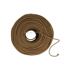 2*0.75mm Antique Decorative Twisted Braided Power Cable vintage textile fabric lamp cord(China)