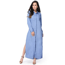 Spring Fall European Style Women A Line Sky Blue Color Long Floor Length Full Sleeve Dress Free Shipping AKN-009(China)