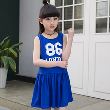 Summer Girls Polo Dress Fancy Clothes Sleeveless Cotton Letter Print Red Blue Pink Girls Sport Dress