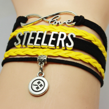 Infinity Love National Football League Pittsburgh Steelers American State Name Plate NCAA Football Team Bracelet for Sports Fans