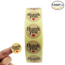 Coceca 1000 Pcs 1'' Round Thank You Sticker Craft Paper Thank You Label with Red Heart Shape, Decorative Sealing Stickers(China)