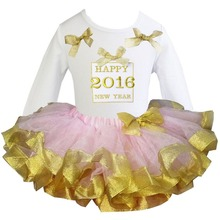 Girl 2016 Gift Box White Long Sleeves Pettitop  and Light Pink Golden Satin Trimmed Tutu 2 pcs Set 1-6Y