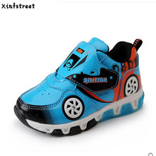Xinfstreet Brand Kids luminate Sneakers Boys Cartoon Car Children Shoes With Light Up Toddler Boys Shoes Size 23-32(China)