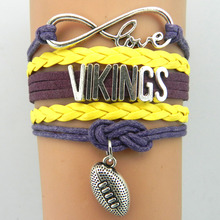 (10 Pieces/Lot) High Quality Infinity Love Minnesota Football Team Vikings Bracelet Purple Gold Custom Any Styles/Themes(China)